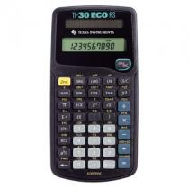 TI-30ecoRS, 10-digit display, Engineering and scientific notations, 1-variable statistic, fraction capability, Conversions: Fractions/Decimals; Degrees/Radians/Grads; Degrees-minutes-Seconds/Decimal/Degrees, solar powered.
