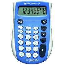 TI-503 SV, 12-digit, SuperView display, Percent key to figure sales tax, mark ups, and discounts; Grand Total (GT) and Mark Up (MU) keysGrand Total (GT) and Mark Up (MU) keys; Solar and battery powered