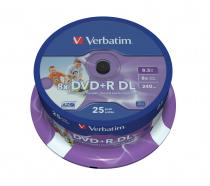 DVD+R VERBATIM 8.5GB 8X DOUBLE LAYER PRINTABLE SPINDLE 25 43667